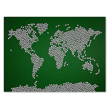 Trademark Fine Art Michael Tompsett 'Soccer Balls World Map' Canvas Art 22x32 Inches