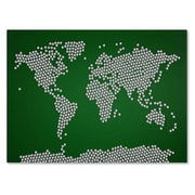 Trademark Fine Art Michael Tompsett 'Soccer Balls World Map' Canvas Art 14x19 Inches