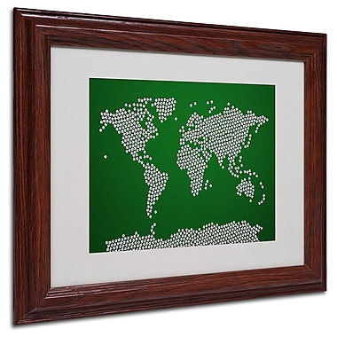 Michael Tompsett 'Soccer Balls World Map' Matted Framed Art - 11x14 Inches - Wood Frame