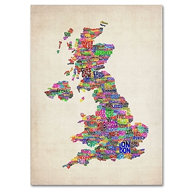 Trademark Fine Art Michael Tompsett 'UK Cities Text Map' Canvas Art 16x24 Inches