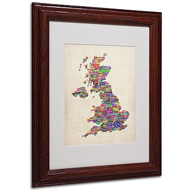 Michael Tompsett 'UK Cities Text Map' Matted Framed Art - 11x14 Inches - Wood Frame