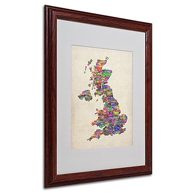 Michael Tompsett 'UK Cities Text Map' Matted Framed Art - 16x20 Inches - Wood Frame