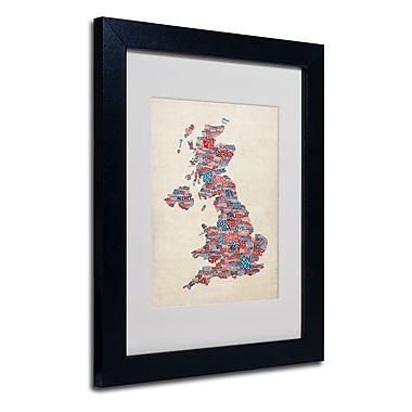 Trademark Fine Art Michael Tompsett 'UK Cities Text Map 2' Matted Art Black Frame 11x14 Inches