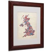 Michael Tompsett 'UK Cities Text Map 2' Matted Framed Art - 11x14 Inches - Wood Frame