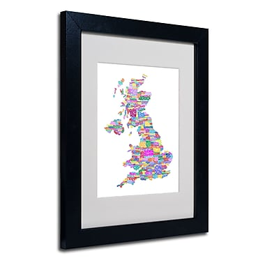 Trademark Fine Art Michael Tompsett 'UK Cities Text Map 3' Matted Art Black Frame 11x14 Inches