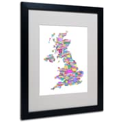 Trademark Fine Art Michael Tompsett 'UK Cities Text Map 3' Matted Art Black Frame 16x20 Inches