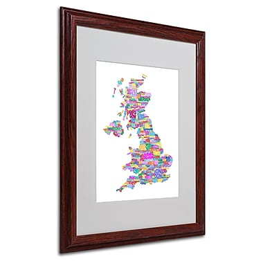 Michael Tompsett 'UK Cities Text Map 3' Matted Framed Art - 16x20 Inches - Wood Frame