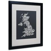 Trademark Fine Art Michael Tompsett 'UK Cities Text Map 4' Matted Art Black Frame 16x20 Inches