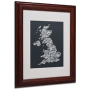 Michael Tompsett 'UK Cities Text Map 4' Matted Framed Art - 11x14 Inches - Wood Frame