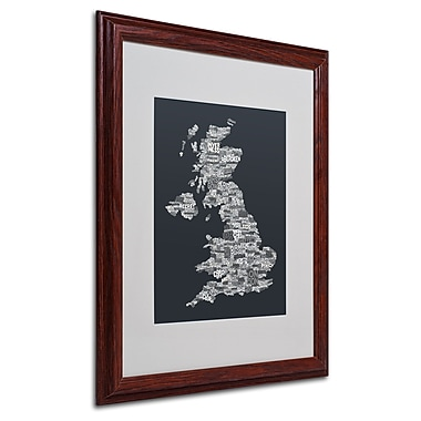 Michael Tompsett 'UK Cities Text Map 4' Matted Framed Art - 16x20 Inches - Wood Frame