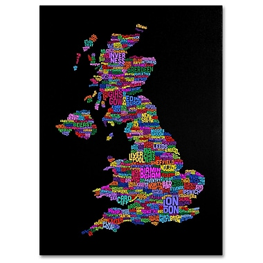 Trademark Fine Art Michael Tompsett 'UK Cities Text Map 5' Canvas Art 16x24 Inches