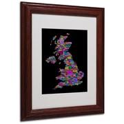 Michael Tompsett 'UK Cities Text Map 5' Matted Framed Art - 11x14 Inches - Wood Frame
