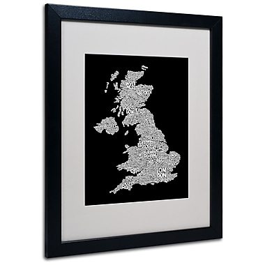 Trademark Fine Art Michael Tompsett 'UK Cities Text Map 6' Matted Art Black Frame 16x20 Inches