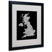 Trademark Fine Art Michael Tompsett 'UK Cities Text Map 6' Matted Art Black Frame 16x20 Inches