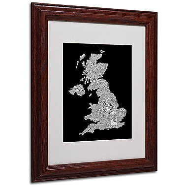 Michael Tompsett 'UK Cities Text Map 6' Matted Framed Art - 11x14 Inches - Wood Frame