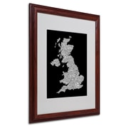 Michael Tompsett 'UK Cities Text Map 6' Matted Framed Art - 16x20 Inches - Wood Frame
