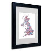 Trademark Fine Art Michael Tompsett 'UK Cities Text Map 7' Matted Art Black Frame 11x14 Inches