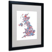 Trademark Fine Art Michael Tompsett 'UK Cities Text Map 7' Matted Art Black Frame 16x20 Inches