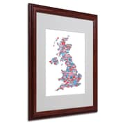 Michael Tompsett 'UK Cities Text Map 7' Matted Framed Art - 16x20 Inches - Wood Frame