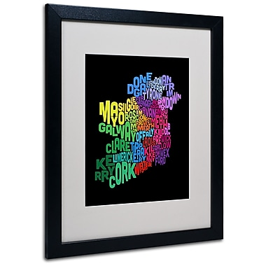 Trademark Fine Art Michael Tompsett 'Ireland Text Map 4' Matted Art Black Frame 16x20 Inches