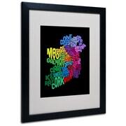 Trademark Fine Art Michael Tompsett 'Ireland Text Map 4' Matted Art Black Frame 16x20 Inches