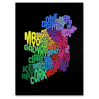 Trademark Fine Art Michael Tompsett 'Ireland Text Map 4' Canvas Art 16x24 Inches