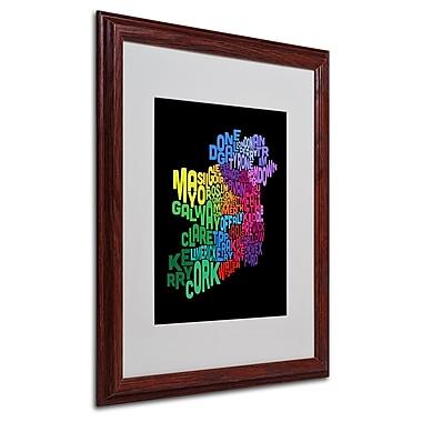 Michael Tompsett 'Ireland Text Map 4' Matted Framed Art - 16x20 Inches - Wood Frame