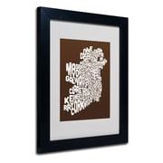 Trademark Fine Art Michael Tompsett 'CHOCOLATE-Ireland Text Map' Matted Black Frame 11x14 Inches