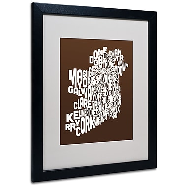 Trademark Fine Art Michael Tompsett 'CHOCOLATE-Ireland Text Map' Matted Black Frame 16x20 Inches