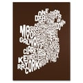 Trademark Fine Art Michael Tompsett 'CHOCOLATE-Ireland Text Map' Canvas Art 14x19 Inches