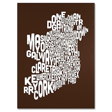 Trademark Fine Art Michael Tompsett 'CHOCOLATE-Ireland Text Map' Canvas Art 24x32 Inches
