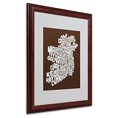 Michael Tompsett 'CHOCOLATE-Ireland Text Map' Matted Framed - 16x20 Inches - Wood Frame