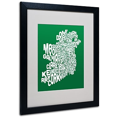 Trademark Fine Art Michael Tompsett 'FOREST-Ireland Text Map' Matted Art Black Frame 16x20 Inches