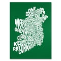 Trademark Fine Art Michael Tompsett 'FOREST-Ireland Text Map' Canvas Art 14x19 Inches