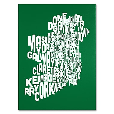 Trademark Fine Art Michael Tompsett 'FOREST-Ireland Text Map' Canvas Art 35x47 Inches