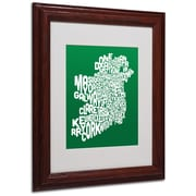 Michael Tompsett 'FOREST-Ireland Text Map' Matted Framed Art - 11x14 Inches - Wood Frame
