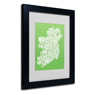 Trademark Fine Art Michael Tompsett 'LIME-Ireland Text Map' Matted Art Black Frame 11x14 Inches