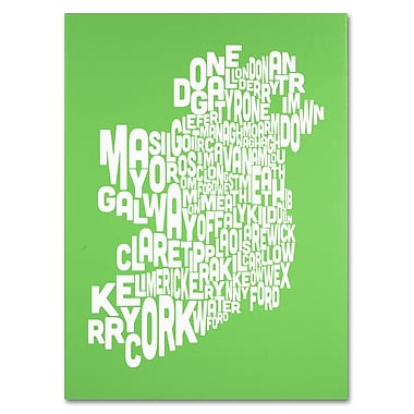 Trademark Fine Art Michael Tompsett 'LIME-Ireland Text Map' Canvas Art 14x19 Inches