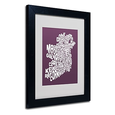 Trademark Fine Art Michael Tompsett 'MULBERRY-Ireland Text Map' Matted Black Frame 11x14 Inches
