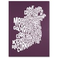 Trademark Fine Art Michael Tompsett 'MULBERRY-Ireland Text Map' Canvas Art 24x32 Inches