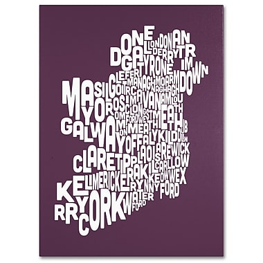Trademark Fine Art Michael Tompsett 'MULBERRY-Ireland Text Map' Canvas Art 18x24 Inches
