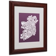 Michael Tompsett 'MULBERRY-Ireland Text Map' Matted Framed - 11x14 Inches - Wood Frame