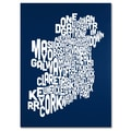 Trademark Fine Art Michael Tompsett 'NAVY-Ireland Text Map' Canvas Art 18x24 Inches