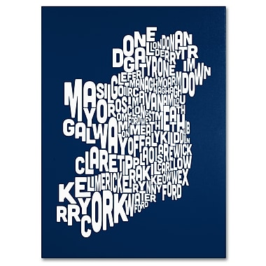 Trademark Fine Art Michael Tompsett 'NAVY-Ireland Text Map' Canvas Art 14x19 Inches