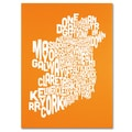 Trademark Fine Art Michael Tompsett 'ORANGE-Ireland Text Map' Canvas Art 18x24 Inches