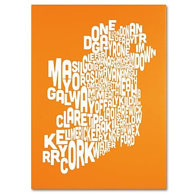 Trademark Fine Art Michael Tompsett 'ORANGE-Ireland Text Map' Canvas Art 14x19 Inches