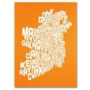 Trademark Fine Art Michael Tompsett 'ORANGE-Ireland Text Map' Canvas Art 14x19 Inches