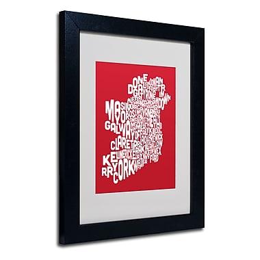 Trademark Fine Art Michael Tompsett 'RED-Ireland Text Map' Matted Art Black Frame 11x14 Inches