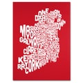 Trademark Fine Art Michael Tompsett 'RED-Ireland Text Map' Canvas Art 24x32 Inches