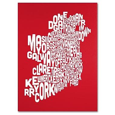 Trademark Fine Art Michael Tompsett 'RED-Ireland Text Map' Canvas Art